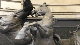 monument Quatre chevaux à une fontaine banque de vidéos