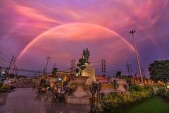 Monument and Rainbow Phuket Thailand. Royalty Free Stock Images