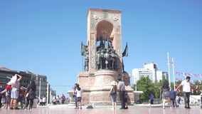 Monument of the republic at Taksim Square, Istanbul, Turkey stock footage