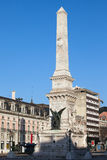 Monument on Restauradores Square in Lisbon Stock Photos