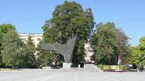 Monument at Revolution by sculptor Drago Tršar in Ljubljana. A view of the monument  in Trg Republike in Ljubljana, Slovenia stock video footage