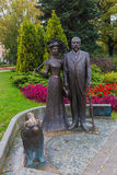 Monument Riga Mayor George Armistead and his wife in a park in front of the Latvian National Opera. LATVIA, RIGA – OCTOBER 12: Monument Riga Mayor George Royalty Free Stock Photo