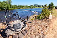 Monument on the river Msta Royalty Free Stock Images