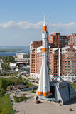 Monument rocket stands at mountain top Stock Photo