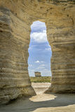 Monument Rocks National Natural Landmark. A keyhole in chalk formations at Monument Rocks National Natural Landmark in Gove County, western Kansas Royalty Free Stock Image