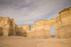 Monument Rocks. A series of large chalk formations, rich in fossils, Monument Rocks was the first landmark chosen by the US Department of the Interior as a Stock Photography