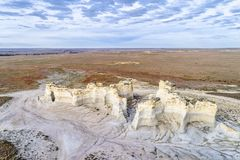 Monument Rocks in western Kansas prairie Royalty Free Stock Photo