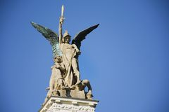 Monument on roof of Vinohrady Theatre at namesti miru or Peace Square Stock Photos