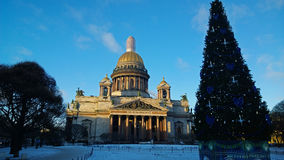 The monument of Russia: St. Isaac`s Cathedral in Saint Petersburg city centre in clear frosty winter day Royalty Free Stock Photo
