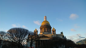 The monument of Russia: St. Isaac`s Cathedral in Saint Petersburg city centre in clear winter day Stock Photo