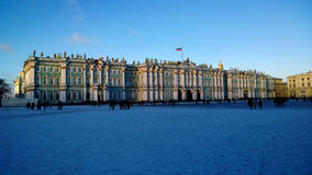 The monument of Russia: the Winter Palace Hermitage Museum in Saint Petersburg city centre in clear winter day Royalty Free Stock Images