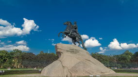 Monument of Russian emperor Peter the Great, known as The Bronze Horseman timelapse hyperlapse, Saint Petersburg. Russia. Blue cloudy sky and green trees on stock video