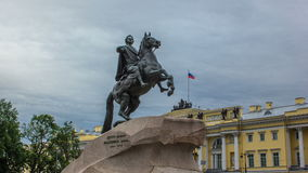Monument of Russian emperor Peter the Great, known as The Bronze Horseman timelapse hyperlapse, Saint Petersburg. Russia. Cloudy sky at background stock footage