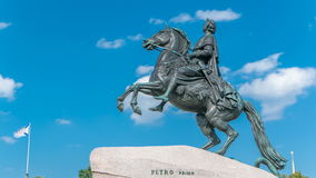 Monument of Russian emperor Peter the Great, known as The Bronze Horseman timelapse, Saint Petersburg , Russia. Blue cloudy sky at background stock video footage