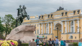 Monument of Russian emperor Peter the Great, known as The Bronze Horseman timelapse, Saint Petersburg , Russia. Tourists walk around and make photos stock footage
