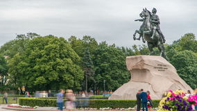 Monument of Russian emperor Peter the Great, known as The Bronze Horseman timelapse, Saint Petersburg , Russia. Tourists walk around and make photos stock video