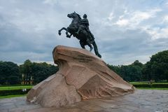 Monument of Russian Emperor Peter the Great. RUSSIA, SAINT PETERSBURG - AUGUST 18, 2017: Monument of Russian Emperor Peter the Great, known as The Bronze Royalty Free Stock Images