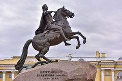 Monument of Russian emperor Peter the Great, Saint Petersburg , Stock Image