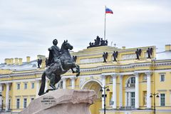 Monument of Russian emperor Peter the Great, Saint Petersburg , Royalty Free Stock Images