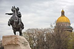 Monument of Russian emperor Peter the Great Stock Photos
