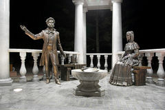 Monument of the russian poet Pushkin and his wife Stock Images