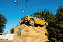 Monument - Russian police retro car Stock Images