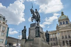 Monument of Saint Wenceslas in Prague. With the National Museum stock photography