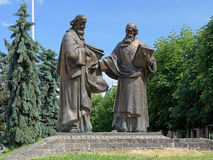 Monument of Saints Cyril and Methodius, Mukacheve Stock Photos