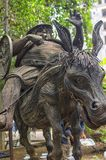 Monument of Sancho Panso, fat squire is riding a donkey. Monument of Sancho Panso, installed in Havana in Cuba. A fat squire is riding a donkey Royalty Free Stock Photography