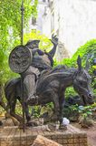 Monument of Sancho Panso, fat squire is riding a donkey. Monument of Sancho Panso, installed in Havana in Cuba. A fat squire is riding a donkey Stock Photos
