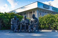 The monument by sculptor Zurab Tsereteli dedicated to the Yalta conference in 1945. Yalta, Crimea-may 30, 2016: the monument by sculptor Zurab Tsereteli Stock Photos