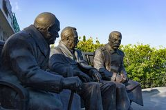 The monument by sculptor Zurab Tsereteli dedicated to the Yalta conference in 1945. Yalta, Crimea-may 30, 2016: the monument by sculptor Zurab Tsereteli Royalty Free Stock Photography