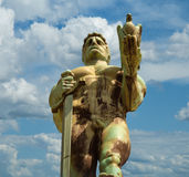 Monument sculpture of the Belgrade Victor. Made of bronze, located in Kalemegdan park facing the Sava River and Zemun district, Belgrade, Serbia Royalty Free Stock Photo