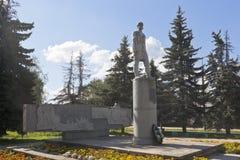 Monument Semyon Dezhnev in der Stadt von Veliky Ustyug in Vologda-Region Lizenzfreie Stockfotos
