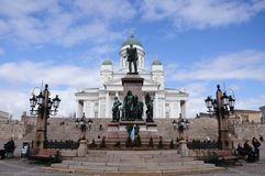 Monument on the Senate Square. Helsinki, Finland. Royalty Free Stock Photos