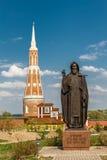The monument of Sergey Radonezhsky. Kolomna, Bogoyavlensky Staro-Golutvin monastery Stock Photo