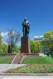 Monument of Shevchenko in spring public garden Royalty Free Stock Images