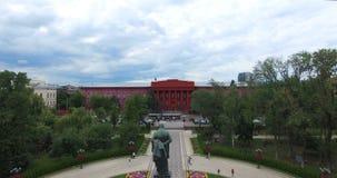 Monument Shevchenko University of Taras Shevchenko park sights in Kyiv of Ukraine stock video