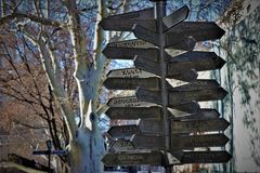 Monument that shows the distance and the direction of many European cities, from Odessa. Located in the touristic area of Odessa, Ukraine stock photography