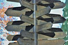 Monument that shows the distance and the direction of many European cities, from Odessa. Located in the touristic area of Odessa, Ukraine stock photo