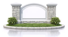 Monument sign. With blank board - 3D illustration stock illustration