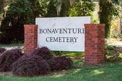 Monument sign at entrance to Bonaventure Cemetery Savannah Georgia. View of Monument sign at entrance to Bonaventure Cemetery Savannah Georgia stock images