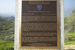 A monument sign from 1955 showing the Tehachapi Train Loop near Tehachapi California is the historic location of the Southern Paci Royalty Free Stock Photography