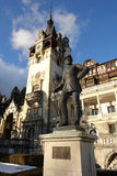 The monument in Sinaia. The monument and Peles palace in Sinaia town.Romania Royalty Free Stock Images
