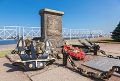 Monument on the site of the amphibious assault of the Baltic fleet Royalty Free Stock Image