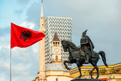 Monument of Skanderbeg in Tirana royalty free stock photo