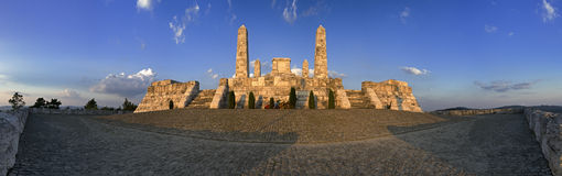 Monument in Slovakia. Monument of Stefanik, establisher of czechoslovakia. 180-degree panorama royalty free stock photography