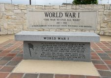 Monument for soldiers who died in World War I in the Veteran`s Memorial Park, Ennis, Texas royalty free stock image