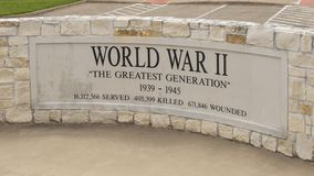 Monument for soldiers who died in World War II in the Veteran`s Memorial Park, Ennis, Texas. Pictured is a monument for soldiers who died in World War II in the royalty free stock image