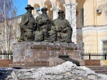 Monument som presenterar de tre stora domarna i Astana Arkivbild